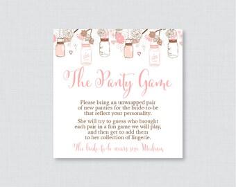Mason Jar Panty Game - Printable Pink Mason Jar Lingerie Shower Panty Game AND Sign - Lingerie Game, Bachelorette Party Game 0015-P