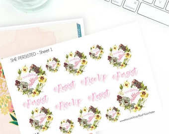 Nevertheless, She Persisted Feminist Planner Sticker Set