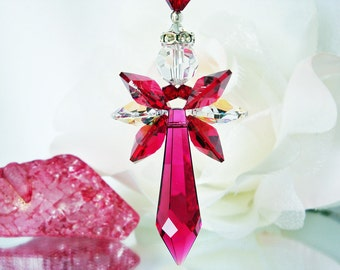 Red Crystal Angel Suncatcher Car Charm, Swarovski Crystal Rear View Mirror Accessories, Hanging Crystals