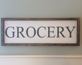 Grocery sign, Wood sign, Painted wood sign, Kitchen decor, Farmhouse style, Painted sign, Kitchen art, Housewarming gift, Pantry sign, Sign