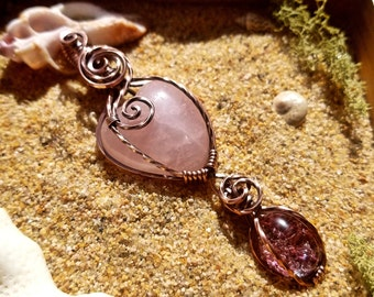 Lovely Rose Garden Quartz Combo Wire Wrapped Healing Crystal Pendant, Necklace
