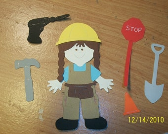 Girl Construction worker paper doll die cut set