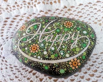 "Hand Painted Mandala Stone - ""Happy"""