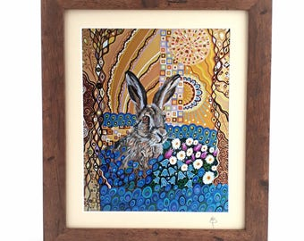 ART NOUVEAU Hare Poster Print Psychedelic Wall Art Home Decor Trippy Design Nature Lovers Art Deco Spiritual Wildlife Art Colorful Gift Idea