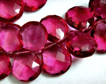 Beautiful AAA Gorgeous Hot Pink Quartz Faceted Heart Briolettes, 1 MATCHED PAIR, 2 Pcs, 10-11mm