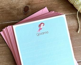 Mermaid stationery, children's stationery, girls stationery, mermaid note cards, mermaid gift, personalized stationery set