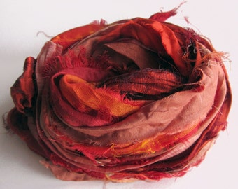 Recycled Sari Silk Ribbons, orange, rust, red color pack, 'Spice Market', 10 yards, reclaimed, Fair Trade
