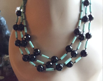 Turquoise and black onyx three strand necklace
