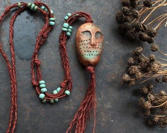 Ancient god necklace, brown shaman necklace, primitive strenght amulet, pagan god necklace, adjustable ceramic necklace, bohemian necklace