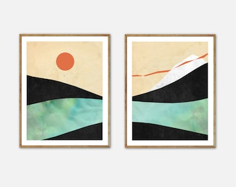 Mid Century Modern Art, Surreal Landscape Print Set, Scandinavian Decor, Mountain Poster, Wall Art Set of 2, Seascape painting, Sun Print