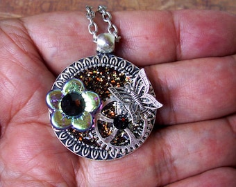 Steampunk Necklace (N706) Brown Sparkle Base Pendant, Glass Flower Bead and Swarovski Crystals, Silver Gears and Butterfly, Chain