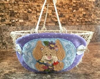 Needle Punch Bunny Holding Flowers, Basket, Finished
