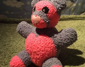 Hot Pink and Gray Teddy Bear