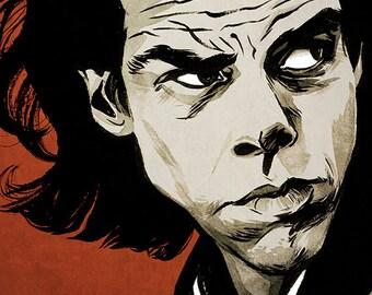Nick Cave portrait colour art print