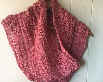 Hand knit pink cowl in silk/cotton/wool blend yarn