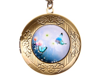 Two Butterflies Necklace, Butterflies locket, LOVE NECKLACE  2020m