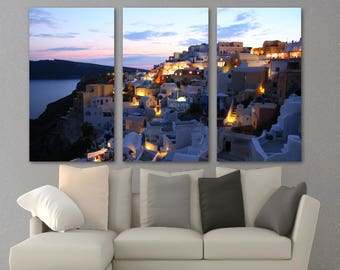 Attrayant Santorini, Greece In Evening Canvas Print Wall Art   3 Panel Split,  Triptych Wall