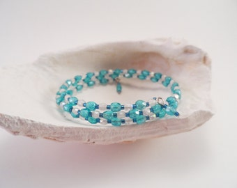 Blue and Teal Memory Wire Bracelet