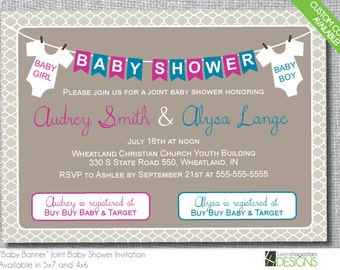 Joint baby shower etsy double baby shower invitation custom colors digital file only filmwisefo