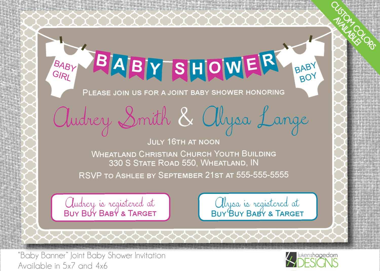 Double Baby Shower Invitation Custom Colors Digital File