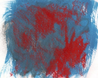 Abstract Art Print - mixed media, blue, red