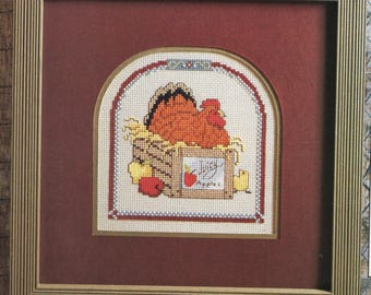 Vintage  RHODE ISLAND Red Farm CHICKEN  Cross X-Stitch Stitch Chart Pattern Needle
