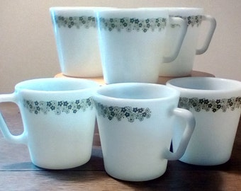 2 Sets of 4 each Vintage Pyrex Spring Blossom or Crazy Daisy D-handle mugs, Vintage coffee, tea mugs, Pyrex olive green on white