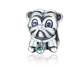 Pug Dog European Spacer Beads Charms - 925 Sterling Silver - Jewelry Making
