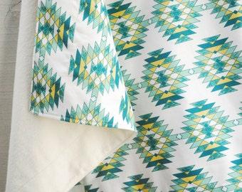 Organic Baby Blanket - Teal Pineapple, Organic Cotton Blanket, Baby Gift, Organic Baby - Ready To Ship