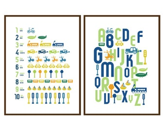 Transport Wall Art For Kids room or Nursery - ABC and 123 Transportation - 8X10