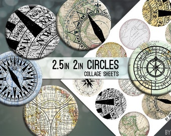 Compass Maps Digital Collage Sheet 2.5in and 2 Inch Circle Download Printable Images for Gift Tags Cards Scrapbooking JPG
