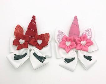 Valentine Unicorn, Valentines Day Head Bows Valentine Hair Clips, Pink Unicorn, Red Unicorn,