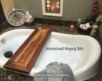 Southern Charm Woodworks Bath Tray / Bath Caddy / Bathtub Tray,  Gift for her. Rectangle Pattern - International Shipping Rate