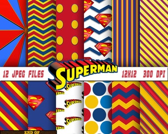 Superman digital paper, Superman background, Superman scrapbook, Superman scrapbook paper