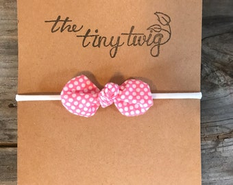 Watermelon Pink Polka Dot Knot Bow