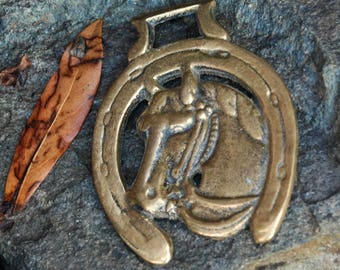 Solid Brass HORSE Medallion, Cast Harness Saddle Pendant, Wall Decor