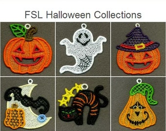 FSL Halloween Collections Free Standing Lace Holiday Ornament Machine Embroidery Designs Instant Download 4x4 hoop 10 designs SHE5025