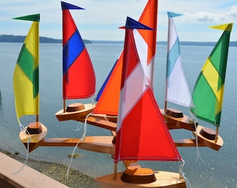 """2018 Sailboat Double Direction""""Striped Sails"""" Whirligig"""