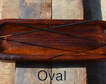 Walnut stained wood incense holder