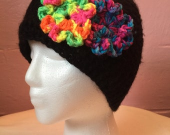 Crochet Black with Multi-Color Flowers Hat/Beanie