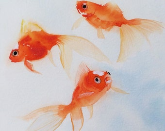 Goldfish Print, Goldfish Art,Delicate swimming goldfish Watercolor , Fish painting,  Art, Wall Decor, Pet Art, Orange and Blue Color scheme