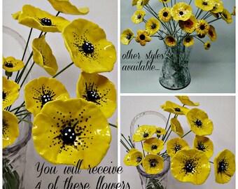 4 decorative ceramic POPPY POPPIES Handmade and hand painted ceramic flowers kiln fired