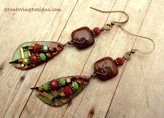 Artisan Enamel, Red Jasper Squares and Czech Firepolish Rondel Earrings