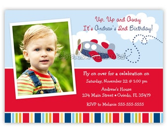 Little Airplane Birthday or Baby Shower Invitation (Digital File)