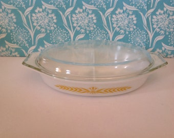 Pyrex Royal Wheat divided casserole dish, 963