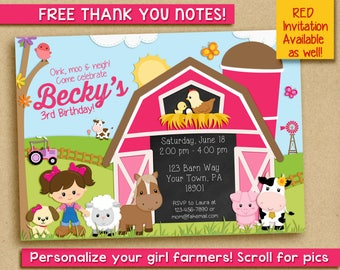Girly Barnyard Birthday Party Invitation - Barnyard Invitation - Girl Barnyard Invitation - Girly Farm Birthday Invitation