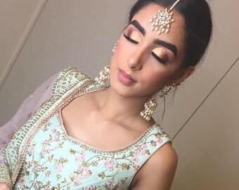 Indian Jewelry earrings tika set Pakistani designer jewellery jhumka tika tikka gold pearls wedding bridal mehndi set chandbali hyderabadi