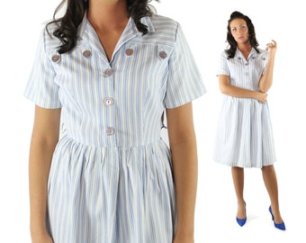 Vintage 60's Day Dress Short Sleeves Full Skirt Shirtwaist Blue White Striped 1960s Medium M Rockabilly Pinup Fashion