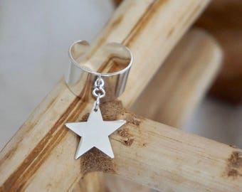 Star ring in 925 Silver with charm