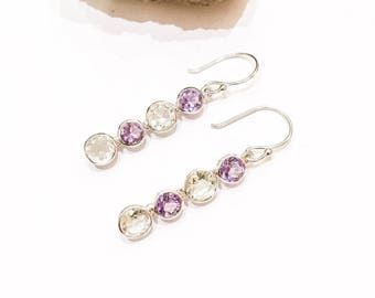 Lilac Amethyst and Green Amethyst 925 Silver Earrings